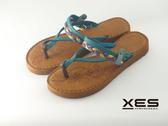 XES 南洋編織夾腳拖 特色玫瑰紋底 女款 水藍色