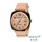 BRISTON 手工方糖錶 香草色 金框 前衛設計 時尚帆布錶帶 男女 生日情人節禮物