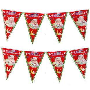 聖誕植絨三角旗
