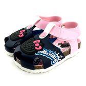 HELLO KITTY 透氣 前包護趾 OREO餅乾 休閒涼鞋《7+1童鞋》D157 藍色