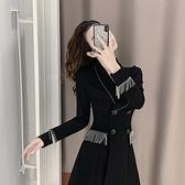 西裝連身裙小個子法式赫本風小黑裙設計感小眾氣質女神范西裝連身裙子女春秋 雲朵走走