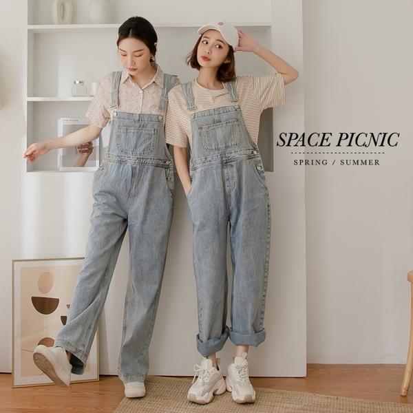 吊帶褲 Space Picnic 銀釦水洗單寧牛仔吊帶褲(預購)【C21031072】