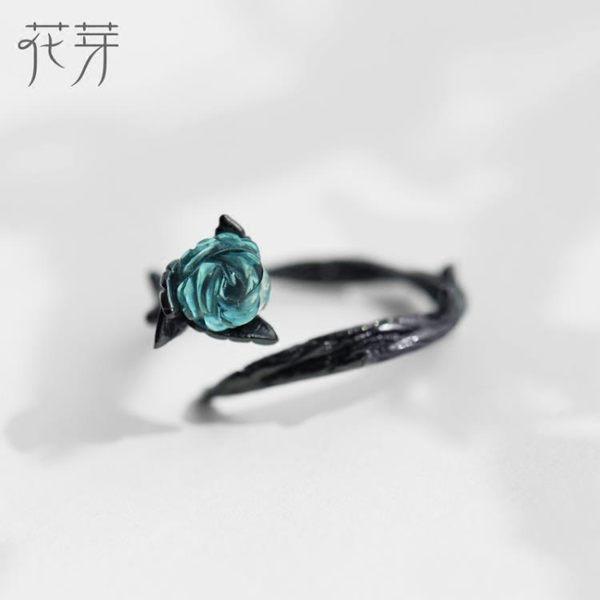 花芽原創荊棘玫瑰情侶對戒純銀一對日韓男女開口戒指簡約個性禮物   麥吉良品