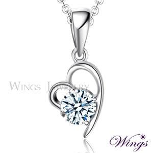 Wings 心有獨鍾 八心八箭進口方晶鋯石精鍍白K金項鍊 心型 愛心