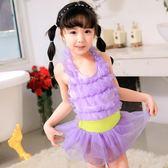 兒童游泳衣女童連體泳裝公主蕾絲裙LJ3314『miss洛羽』