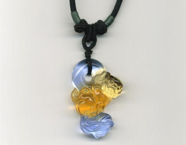 鹿港窯~居家開運水晶琉璃項鍊~獅子 附精美包裝◆免運費送到家◆