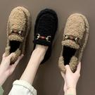 2019新款網紅女鞋秋冬季毛毛鞋平底豆豆鞋學生韓版百搭加絨棉鞋女