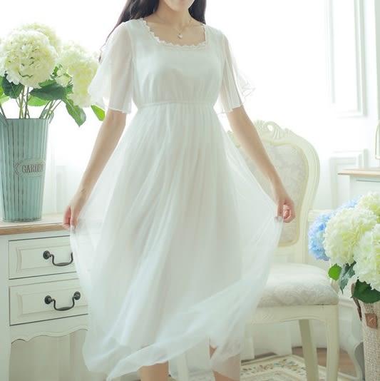女夏款純棉可愛蝴蝶結蕾絲邊家居服睡裙韓國宮廷風公主白色 -11190048
