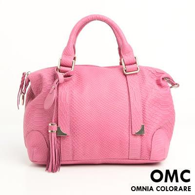 OMC - 繽紛系全牛皮2用型小波士頓包 ─  氣質桃