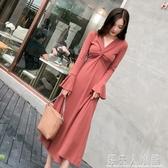 秋裝新款高冷系女裝打底裙氣質網紅成熟法式復古針織洋裝 錢夫人