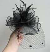 帽子 新娘禮帽女英倫名媛夜上海復古蕾絲網紗帽舞會黑色小禮帽羽毛頭飾