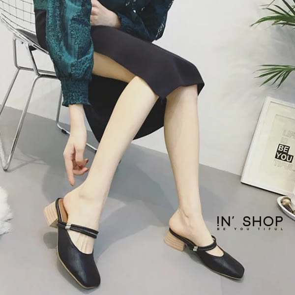 IN'SHOP 涼拖鞋-優雅復古方頭雙細帶包頭低跟拖鞋-共2色 【KF00535】