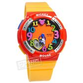 Disney 迪士尼 / MK-15029Y / 米奇系列 雙顯 鬧鈴 防水100米 兒童錶 卡通錶 橡膠手錶 橘x紅框x鵝黃 43mm