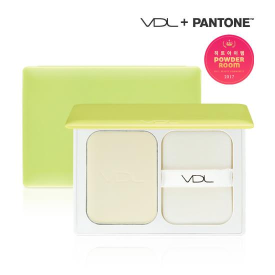韓國 VDL × PANTONE 定妝蜜粉餅 (附粉撲) 10g 草綠色【歐妮小舖】