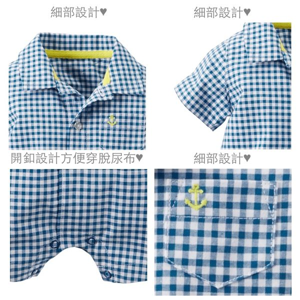 【美國Carter's】純棉連身衣- 格紋POLO款短袖純棉連身裝 118G314
