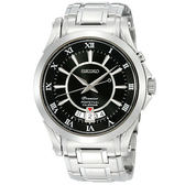 SEIKO 精工 Premier 萬年曆洗鍊手錶-黑 6A32-00R0D
