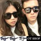 OT SHOP太陽眼鏡‧韓款明星同款李敏鎬抗UV400方框粗框墨鏡‧亮黑/亮黑白水銀‧現貨2色‧D17