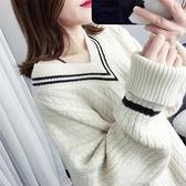 針織打底衫 秋裝正韓學生套頭V領毛衣女寬鬆時尚百搭慵懶針織打底衫-Milano米蘭