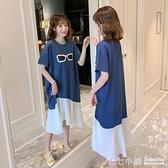 新品韓版大碼雪紡拼接中長款T恤女短袖女顯瘦荷葉邊A字裙洋裝夏