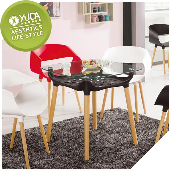 【YUDA】 瓦沙  強化玻璃 方桌 /  餐桌   /  休閒桌  J9M 1000-2