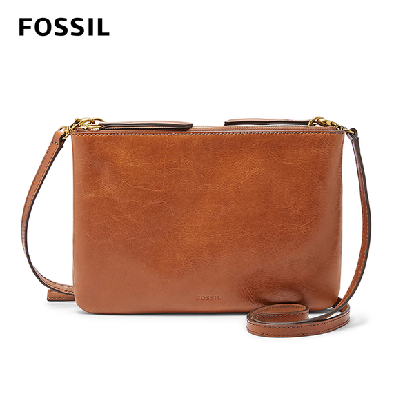 FOSSIL DEVON 真皮多夾層側背扁包-焦糖 ZB7415200