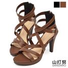 涼鞋 層次感交叉高跟羅馬鞋