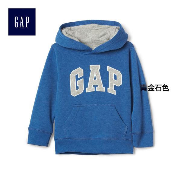 Gap男嬰幼童 LOGO連帽休閒上衣 寶寶刷毛長袖童裝 113991-青金石色