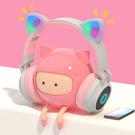 韓版貓耳朵發光藍芽耳罩 可愛頭戴式無線耳藍牙耳機 女生款 學生電競遊戲台式筆記本手機電腦