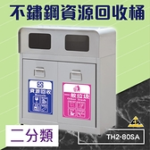 不鏽鋼二分類資源回收桶 TH2-80SA (環保資源/回收桶/垃圾桶/紙簍/資源回收箱/分類桶)
