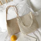 手提包 2020韓國沙灘休閒草編織單肩水桶包ins秋季新款百搭手提女包包