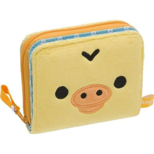 拉拉熊 造型絨毛對折短夾/零錢包/卡片包 小雞款 San-X Rilakkuma 該該貝比日本精品 ☆