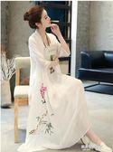 茶人服女夏棉麻連身裙文藝復古禪意中國風茶道古風太極茶藝師服裝  凱斯盾數位3C