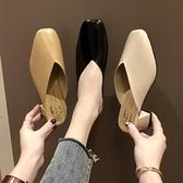 穆勒鞋方頭高跟涼拖奶奶鞋粗跟包頭半拖鞋女中跟復古外穿穆勒鞋【少女顏究院】