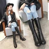 靴子女前拉鏈短靴粗跟馬丁靴女英倫風女鞋秋冬季新款 萬客居