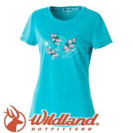 【Wildland 荒野 女款 印花咖啡紗抗UV長版上衣《湖水綠》】0A51617/短袖排汗衣/排汗衣★滿額送