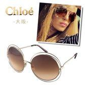 【Chloe' 蔻依】CE114SD-784-62雜誌型錄款墨鏡(玫瑰金框漸層棕鏡面#大版)