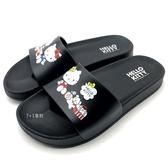 《7+1童鞋》女段 HELLO KITTY   輕量防水 拖鞋 E056  黑色