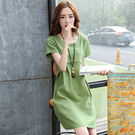 裙子仙女超仙森系薄款短袖大碼寬鬆韓版拼接中長款棉麻洋裝夏裝【果果新品】