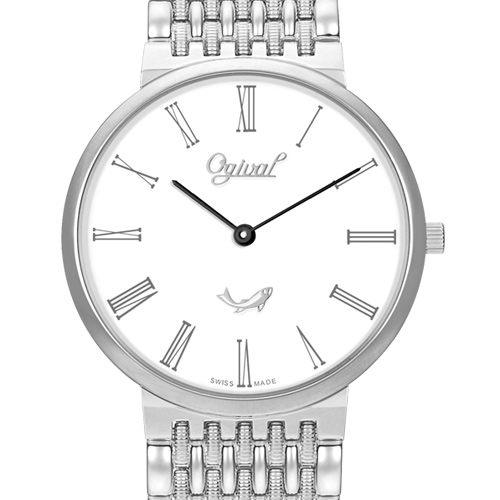 Ogival 瑞士愛其華 似水時光超薄石英腕錶-銀/34mm