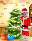 兒童金絲絨聖誕老公公服裝短版 聖誕服 聖誕帽聖披肩聖誕樹聖誕燈