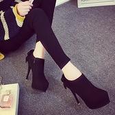 踝靴 2021新款秋冬超高跟鞋單鞋 防水台短靴 紅色婚鞋性感蝴蝶結及踝靴 降價兩天