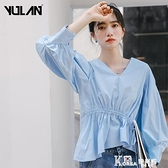 2021年新款冷淡風襯衣女士秋裝V領很仙藍色襯衫女設計感小眾上衣