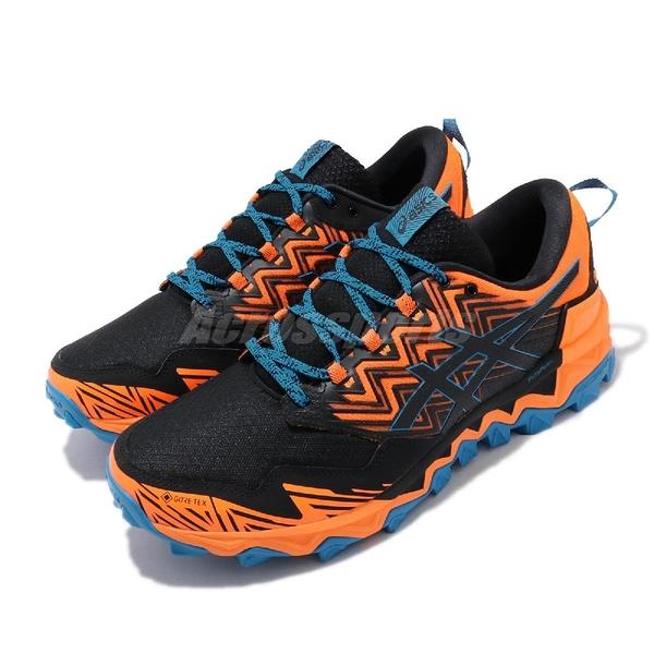 Asics 越野慢跑鞋 Gel-FujiTrabuco 8 G-TX 黑 橘 男鞋 防水 戶外鞋 運動鞋 【PUMP306】 1011A670800