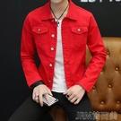 男牛仔外套 韓版潮流修身純色夾克上衣 簡而美