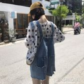 2019春夏新款韓版百搭側邊割破毛邊口袋網紅牛仔背帶短褲女森女系-ifashion