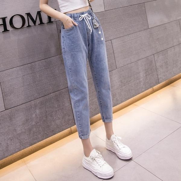 牛仔褲女2020夏季薄款韓版顯瘦寬鬆蘿蔔褲九分高腰破洞休閒哈倫褲 店慶降價