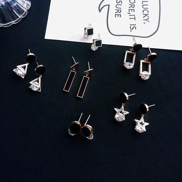 耳環 簡約 個性 幾何 鏤空 拼接 鑲鑽 氣質 耳釘 耳環【DD1806111】 icoca  10/04
