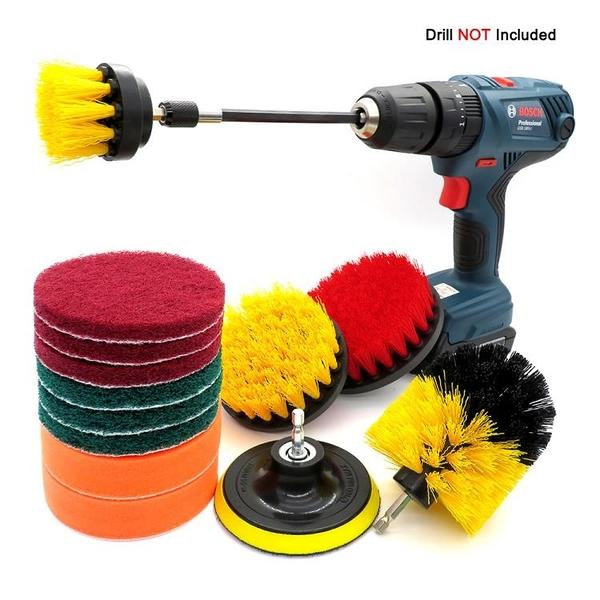 外貿貨源 電鑚刷14件套電動尼龍六角洗車刷拋光清潔drill brush