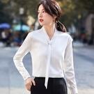 領結式珠光不皺免燙上班長袖襯衫[21S013-PF]美之札