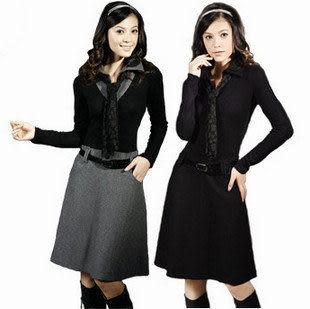 新款熱賣淑女裝修身蕾絲高腰顯瘦毛呢長袖連衣裙大碼